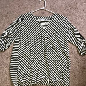 Army green striped top